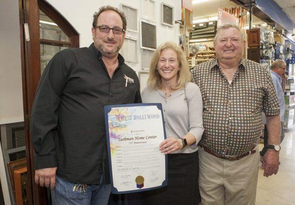 Kenny Tashman, Mayor Lauren Meister, Mark Tashman